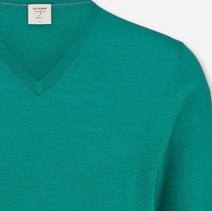 OLYMP Level Five Knitwear, body fit, Pullover V-neck, Lime Green