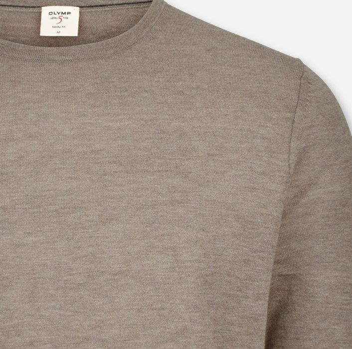 OLYMP Level Five Strick, body fit, Pullover Rundhals , Schlamm