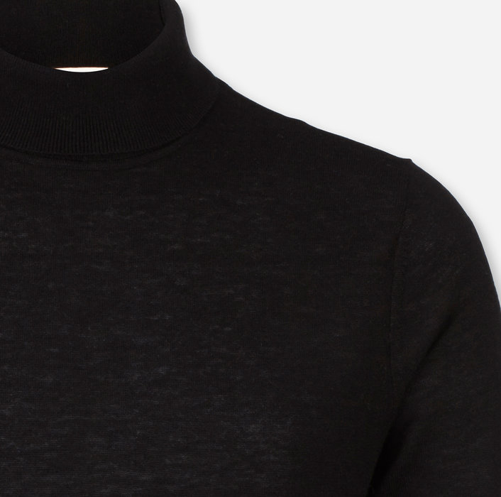 OLYMP Level Five Maille, body fit, Pullover col roulé, Noir