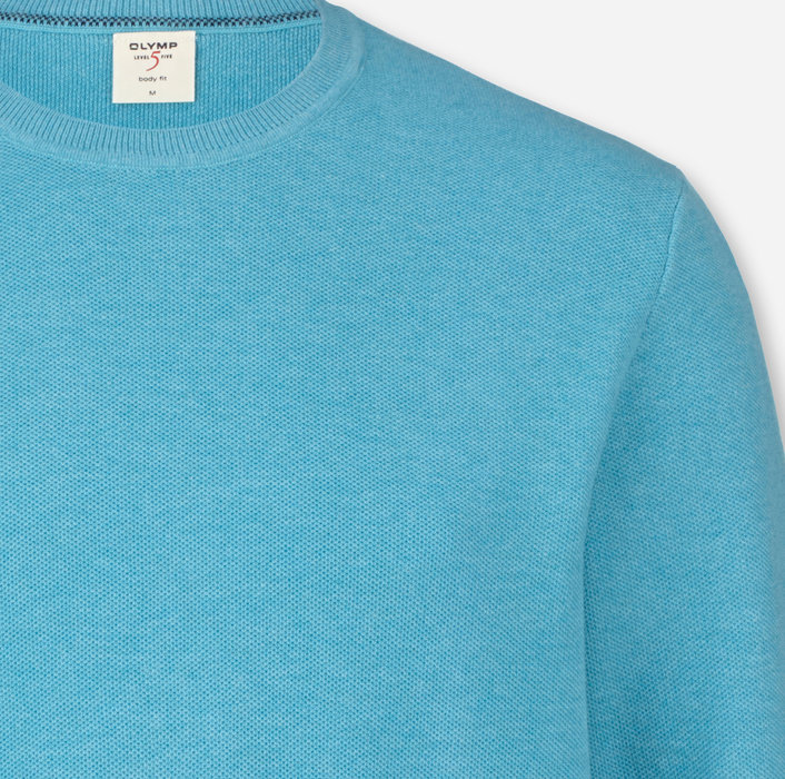OLYMP Level Five Knitwear, body fit, Pullover crew neck, Turquoise