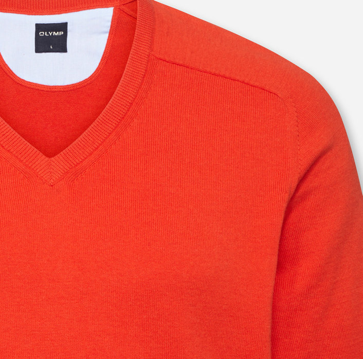 OLYMP Strick, modern fit, V-Neck, Rotorange