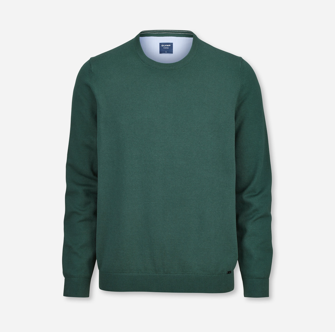 OLYMP Strick modern fit Pullover Rundhals Grün 01601145