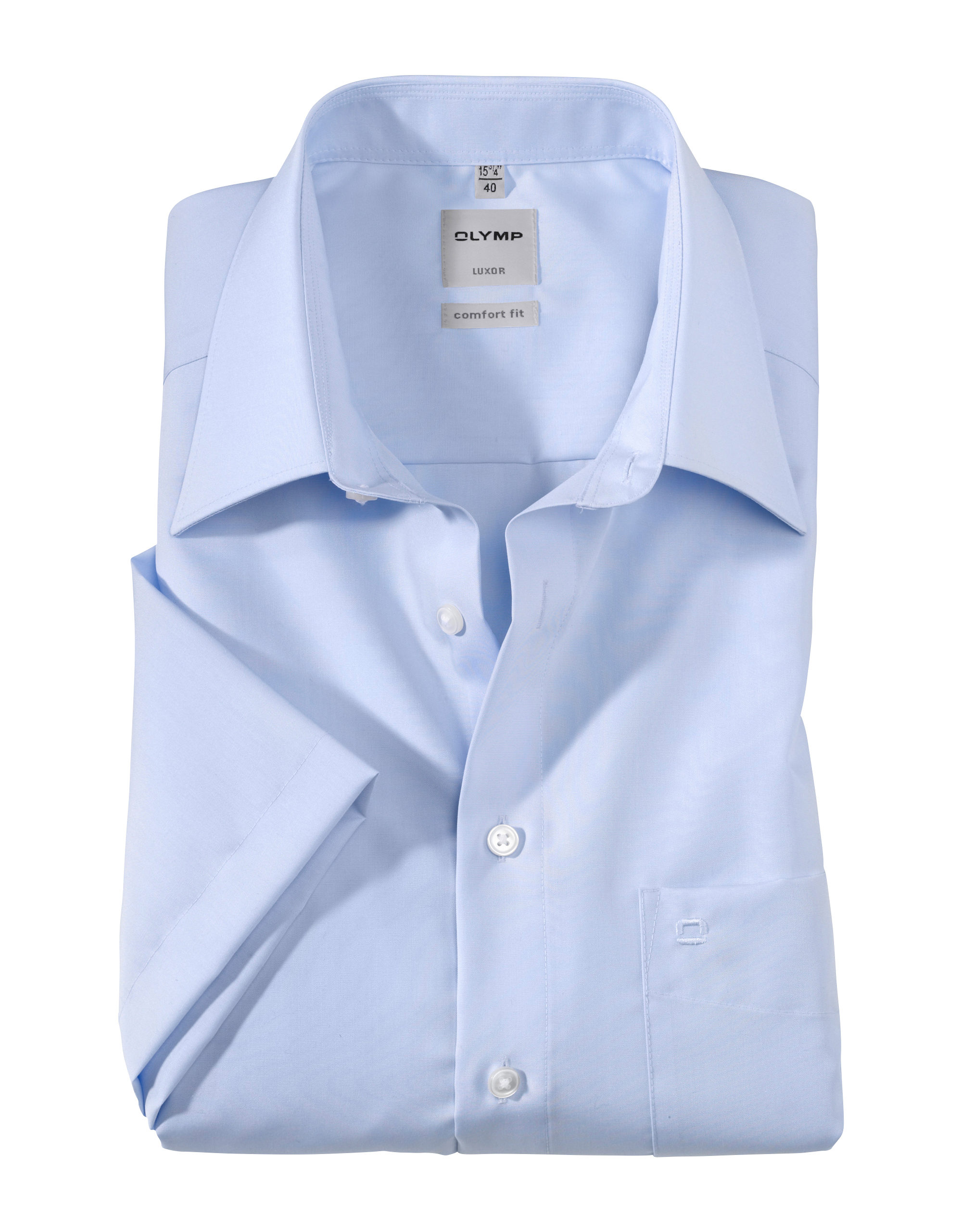 OLYMP Luxor Halbarmhemd, comfort fit, Kent, Blau, 49 | Bekleidung > Hemden > Sonstige Hemden | OLYMP