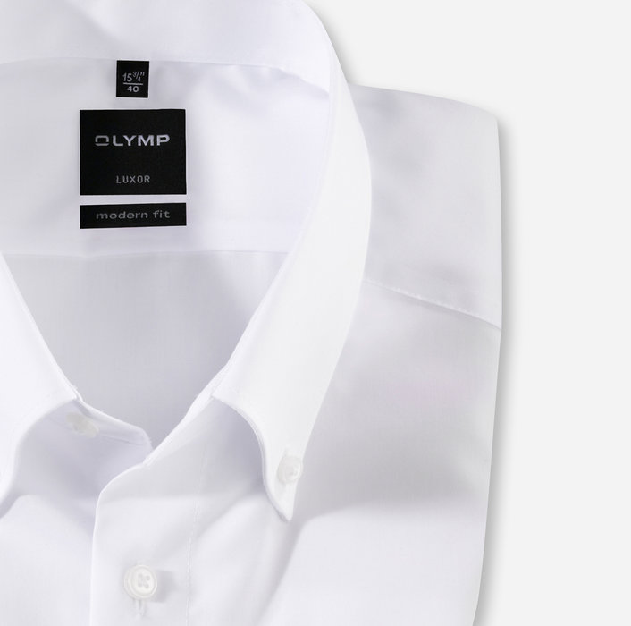 OLYMP Luxor, modern fit, Businesshemd, Button-down, Weiß