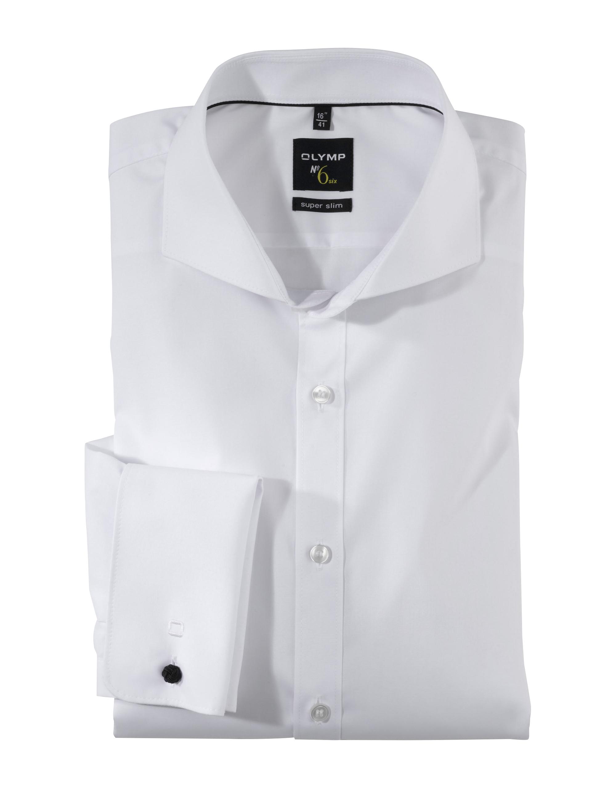 OLYMP No. Six Hochzeitshemd, super slim, Haifisch, Weiß, 44 | Bekleidung > Hemden | Weiß | 97% baumwolle/ 3% elastolefin (xlance) | OLYMP No. Six