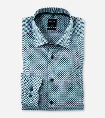 OLYMP No six super Slim Hemd extra Langer Arm Muster wei/ß
