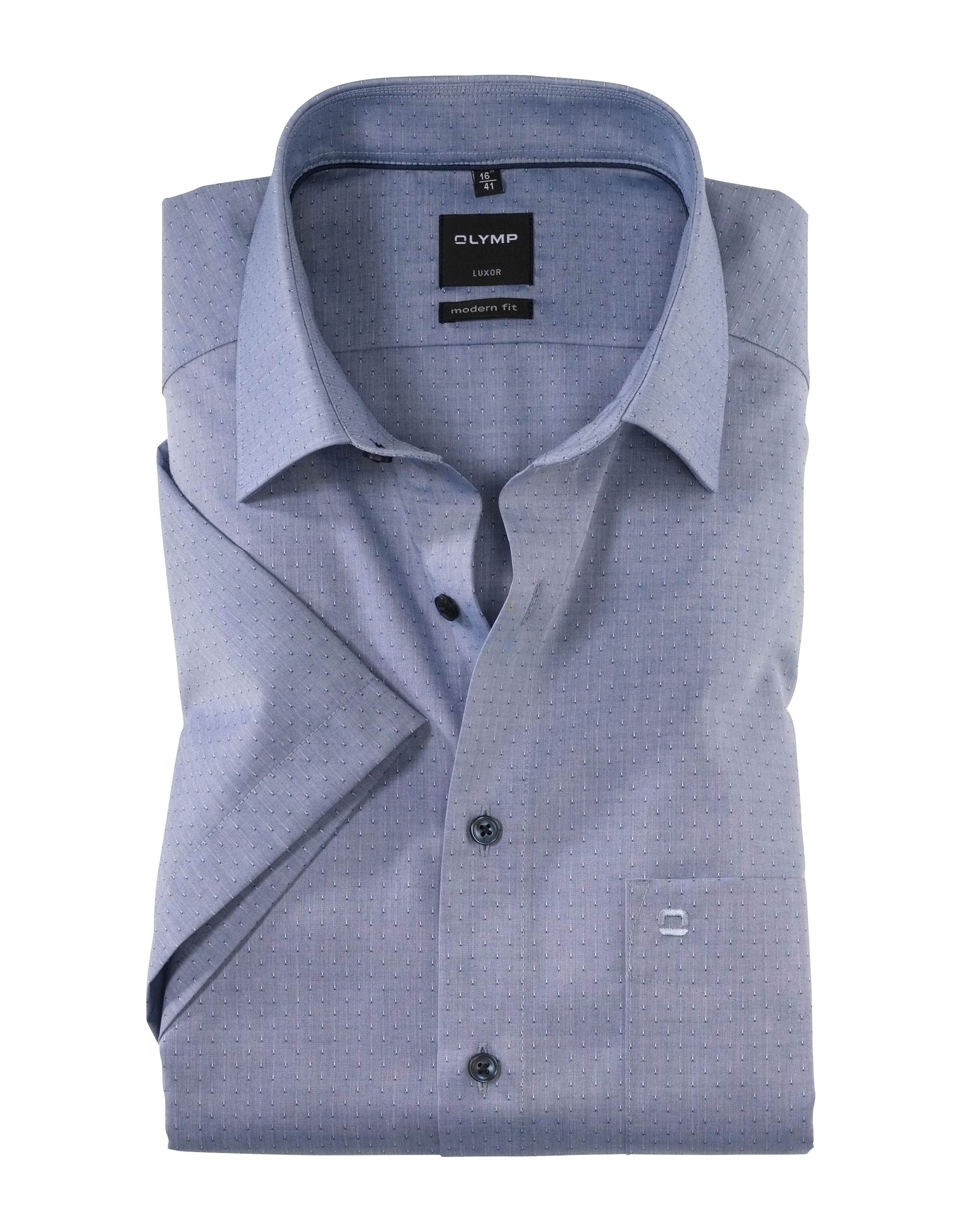 OLYMP Luxor Halbarmhemd, modern fit, New Kent, Marine, 45 | Bekleidung > Hemden > Sonstige Hemden | Marine | 100% baumwolle | OLYMP Luxor