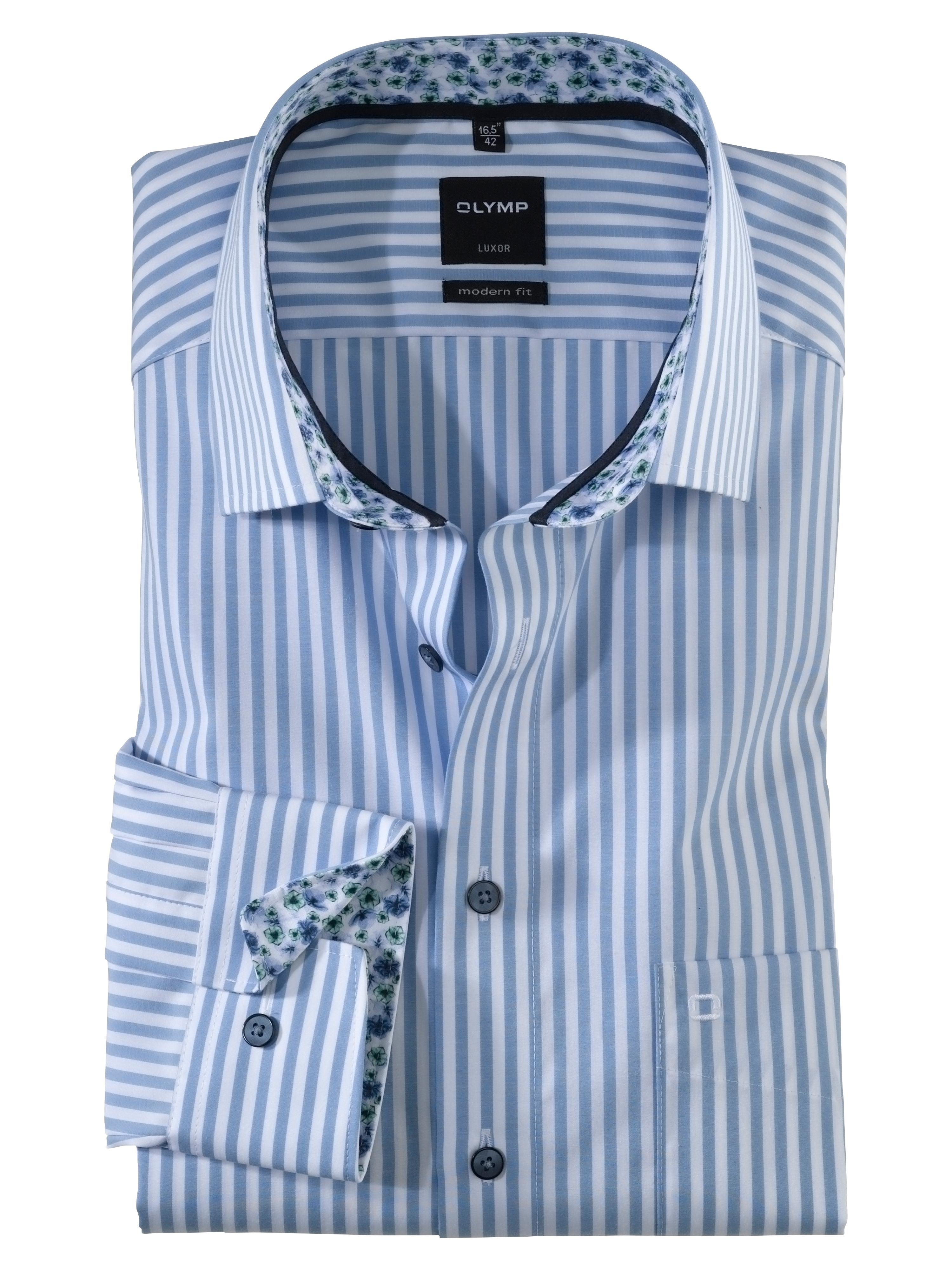 OLYMP Luxor Hemd, modern fit, Global Kent, Bleu, 46 | Bekleidung > Hemden > Sonstige Hemden | OLYMP
