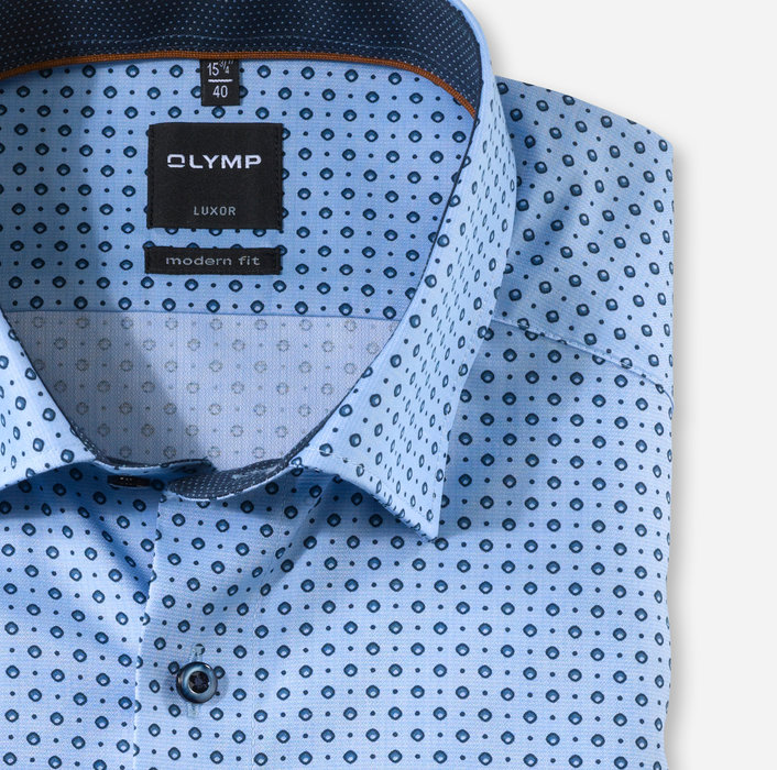 OLYMP Luxor, modern fit, Chemise d'affaires, Boutons sous col, Marine