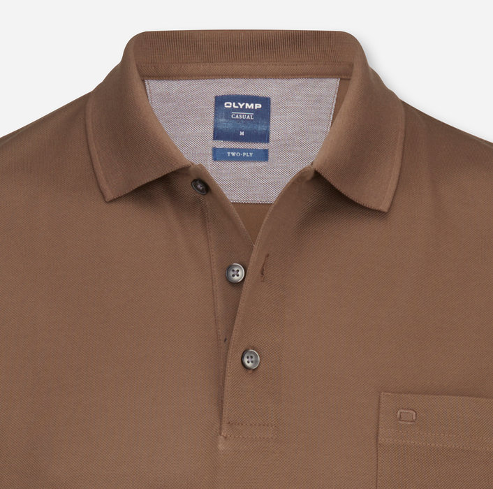 OLYMP Casual Polo, modern fit, Schlamm