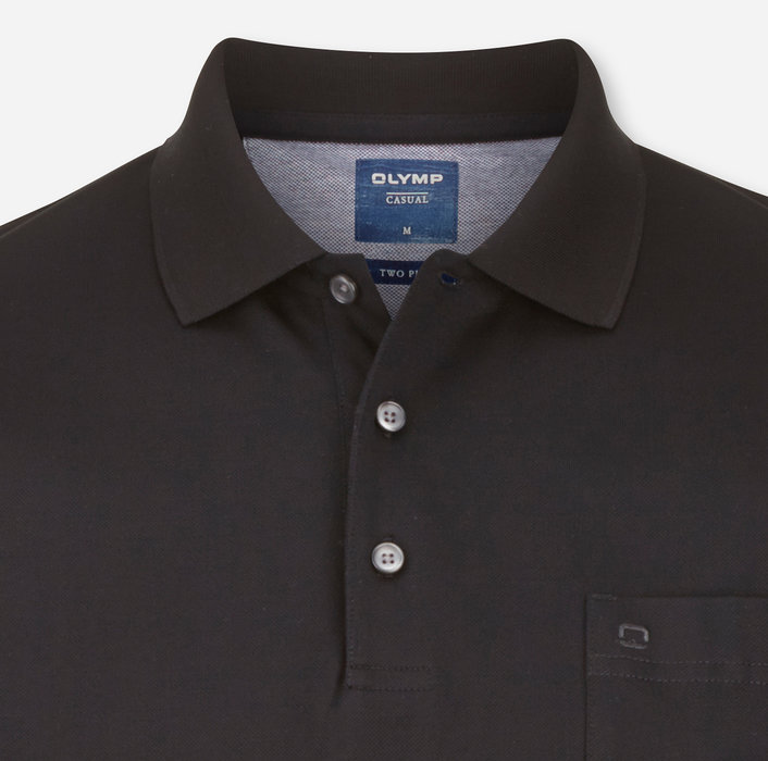 OLYMP Casual Polo, modern fit, Schwarz