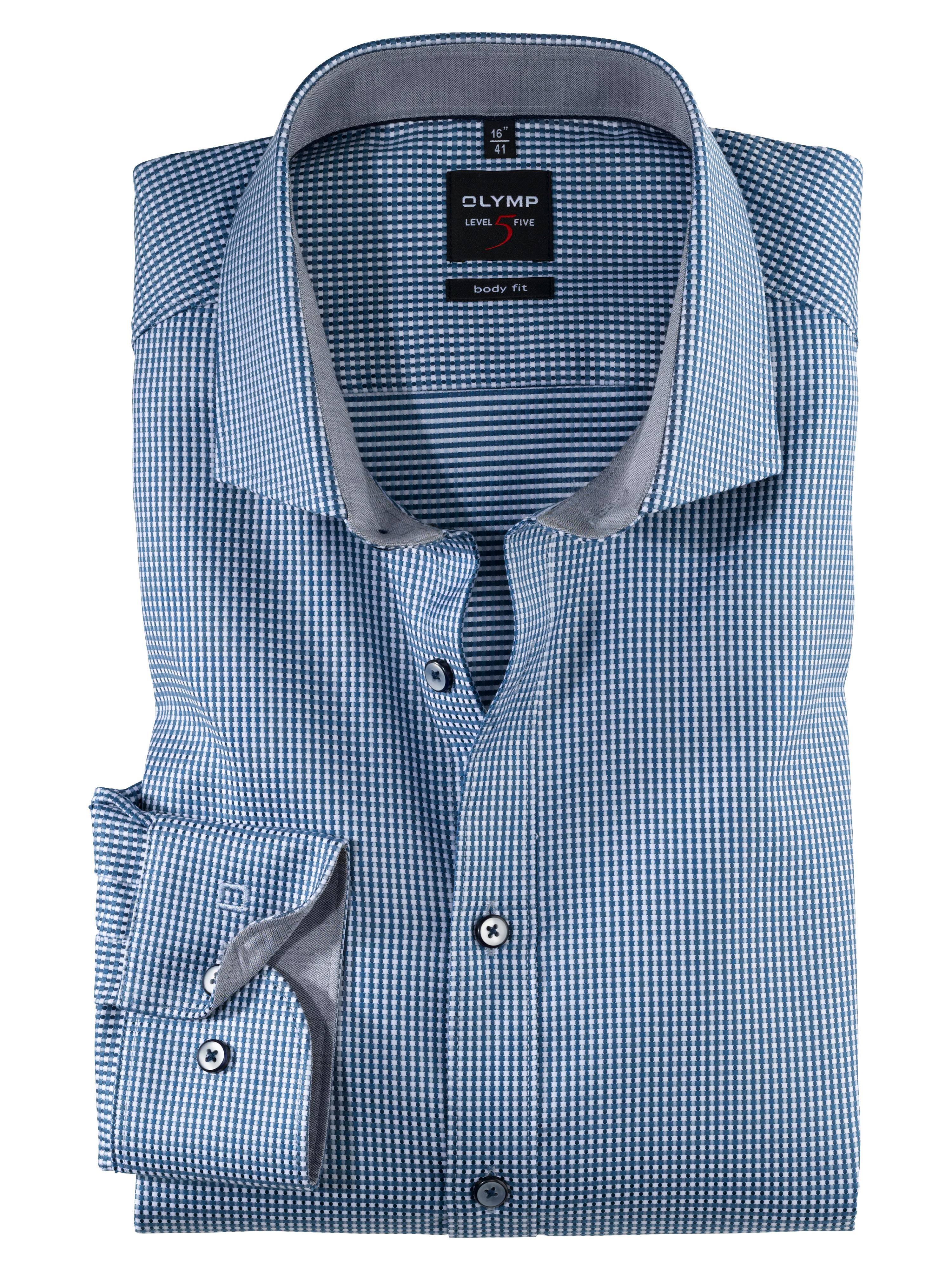OLYMP Level Five Hemd, body fit, Royal Kent, Rauchblau, 43   Bekleidung > Hemden > Sonstige Hemden   Baumwolle   OLYMP