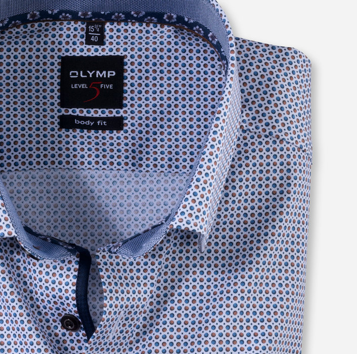 OLYMP Level Five, body fit, Under button-down, Nougat