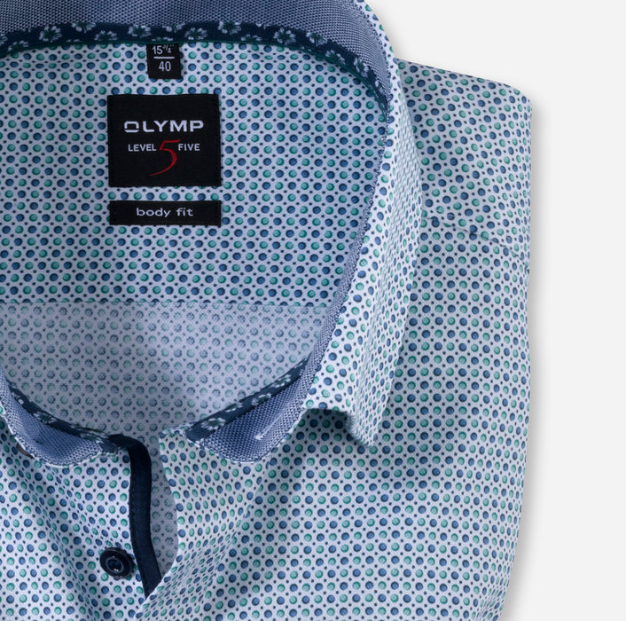 OLYMP Level Five, body fit, Businesshemd, Under-Button-down, Grün