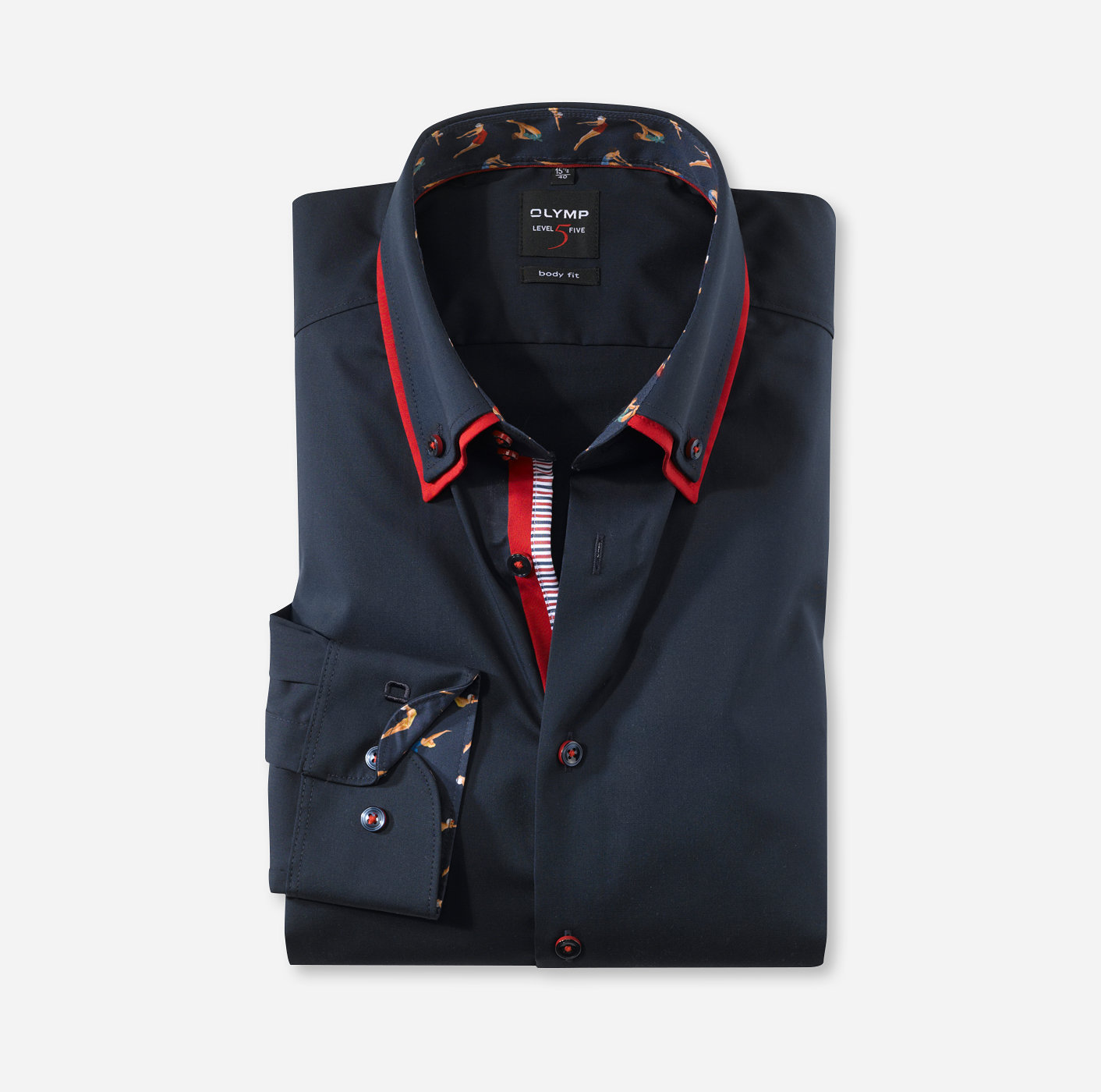 OLYMP Level Five, body fit, Button down | Kobaltblauw 21385408