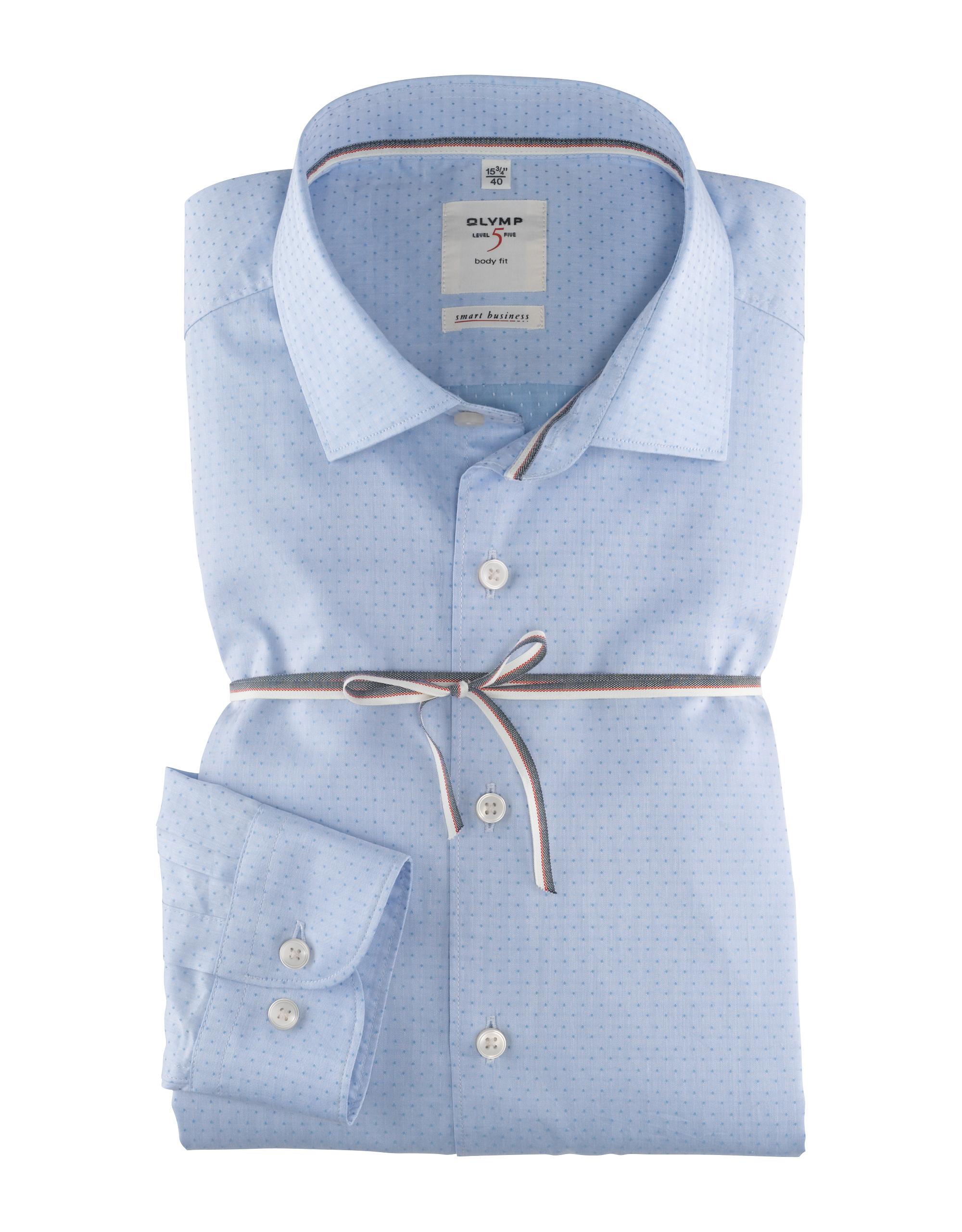 OLYMP Level Five Smart Business Hemd, body fit, Kent, Bleu, 42   Bekleidung > Hemden > Business Hemden   Baumwolle   OLYMP