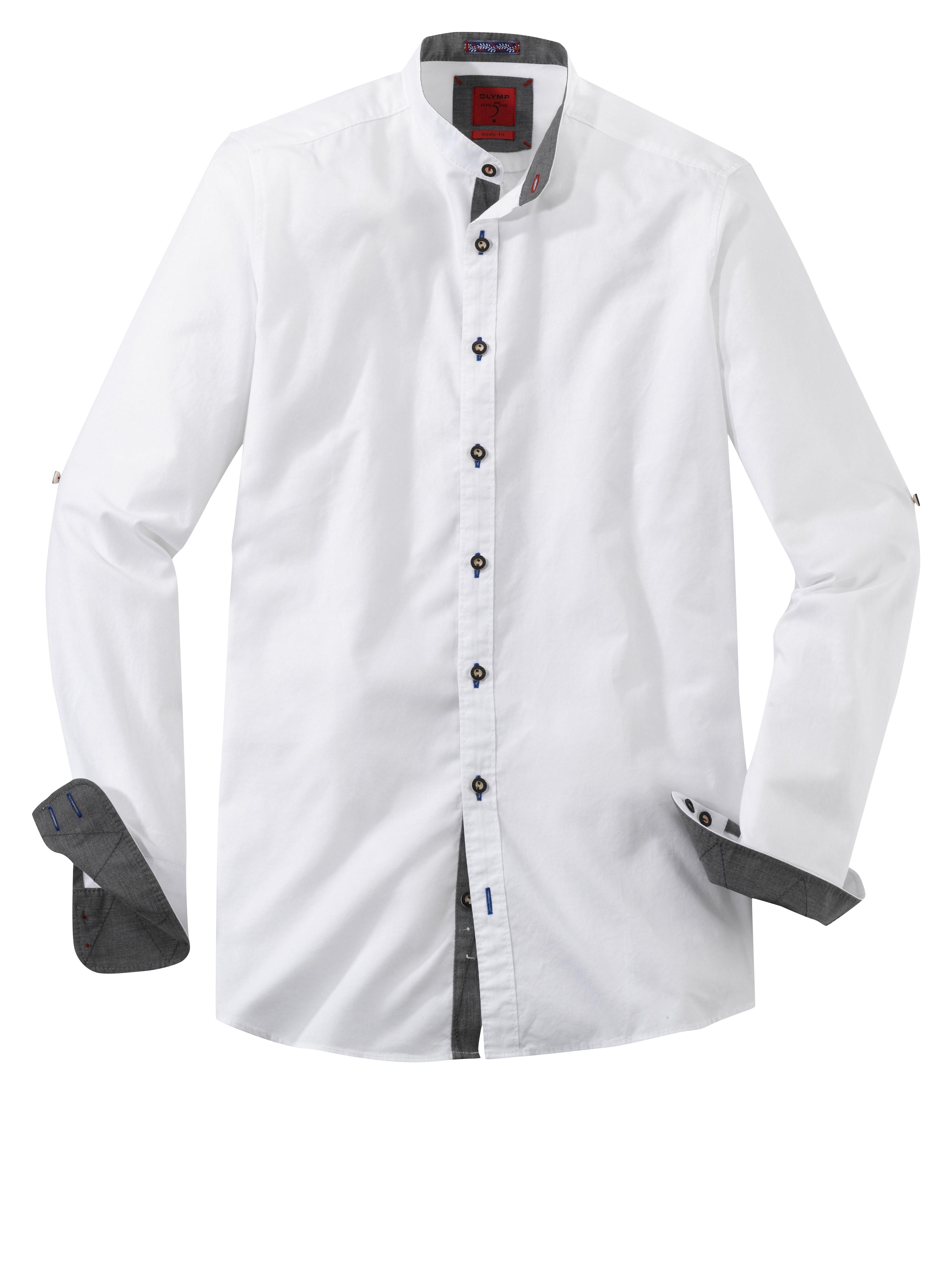 OLYMP Trachtenhemd, body fit, Stehkragen, Weiß, M | Bekleidung > Hemden > Trachtenhemden | Weiß | 100% baumwolle | OLYMP Trachtenhemd