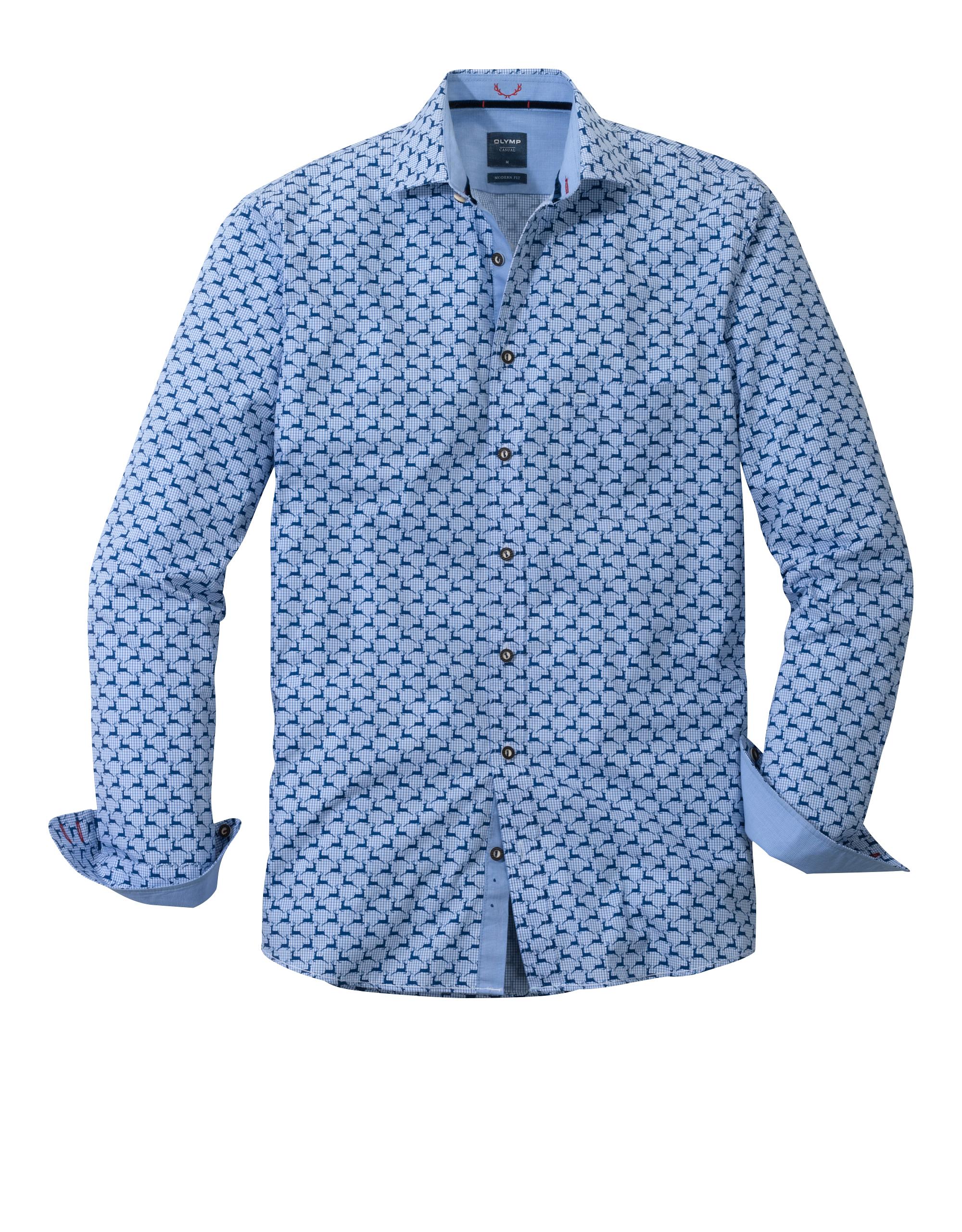 OLYMP Trachtenhemd, modern fit, Kent, Blau, XL   Bekleidung > Hemden > Trachtenhemden   Blau   Baumwolle   OLYMP