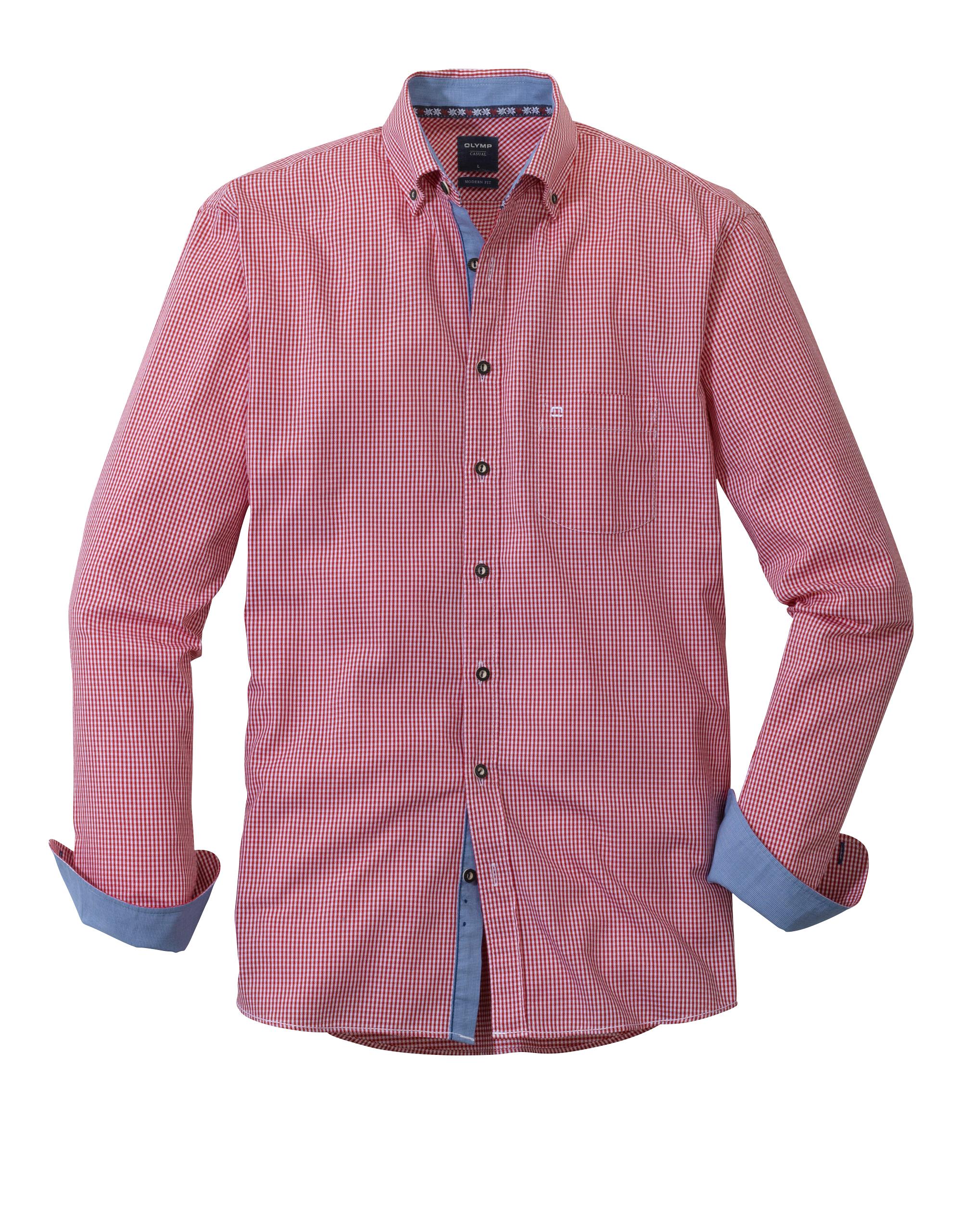 OLYMP Trachtenhemd, modern fit, Button-down, Rot, XL   Bekleidung > Hemden > Trachtenhemden   Rot   100% baumwolle   OLYMP Trachtenhemd