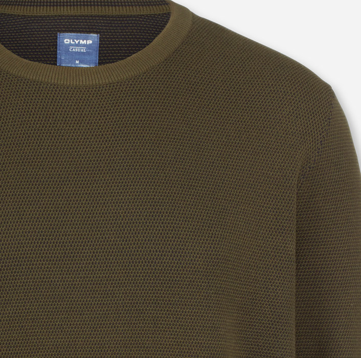 OLYMP Knitwear, modern fit, Pullover crew neck, Olive
