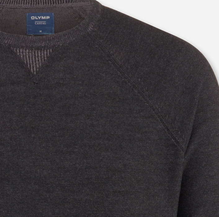 OLYMP Knitwear, modern fit, Pullover crew neck, Anthracite