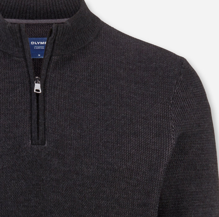 OLYMP Knitwear, modern fit, Pullover zipper jacket, Anthracite