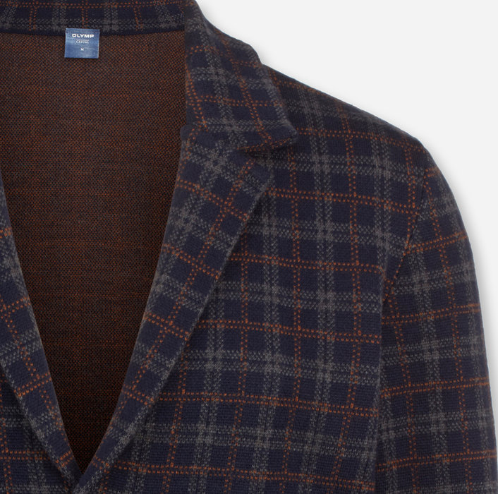 OLYMP Knitwear, modern fit, Jacket lapel collar, Marine
