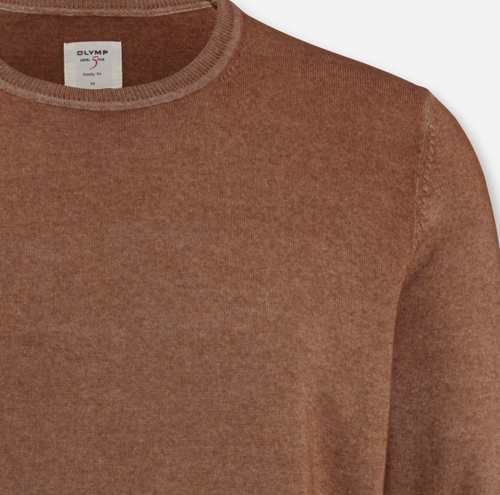OLYMP Level Five Knitwear, body fit, Pullover crew neck, Nougat