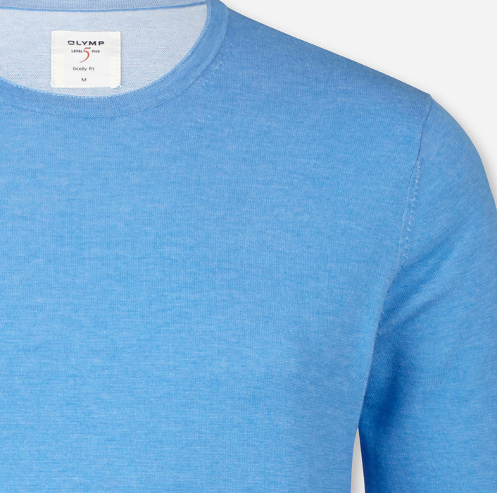 OLYMP Level Five Knitwear, body fit, Pullover crew neck, Sky