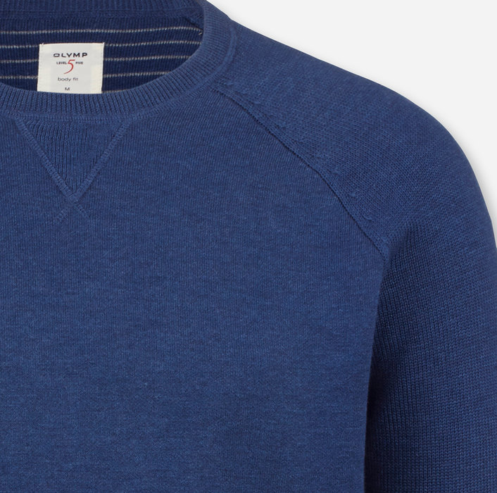 OLYMP Level Five Knitwear, body fit, Pullover crew neck, Smoke Blue