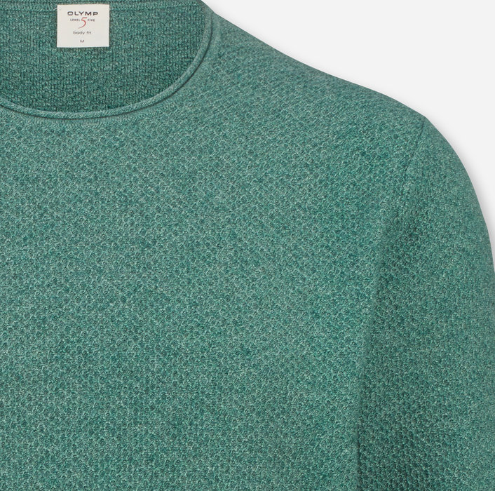 OLYMP Level Five Knitwear, body fit, Pullover crew neck, Lime Green