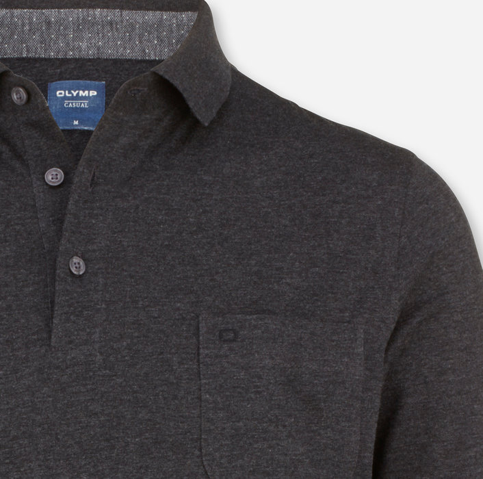 OLYMP Casual Polo, modern fit, Anthracite