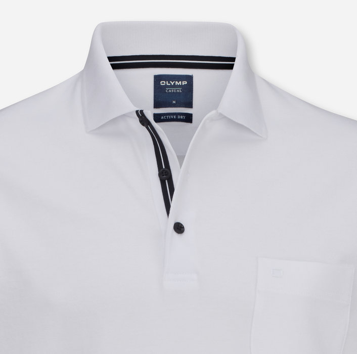 OLYMP Level Five Casual Polo, modern fit, Weiß