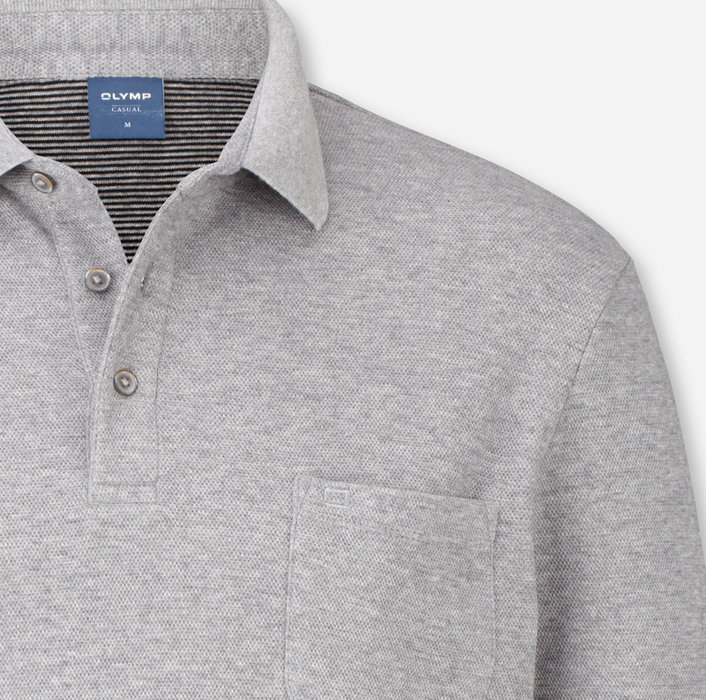 OLYMP Casual Polo, modern fit, Silver Grey