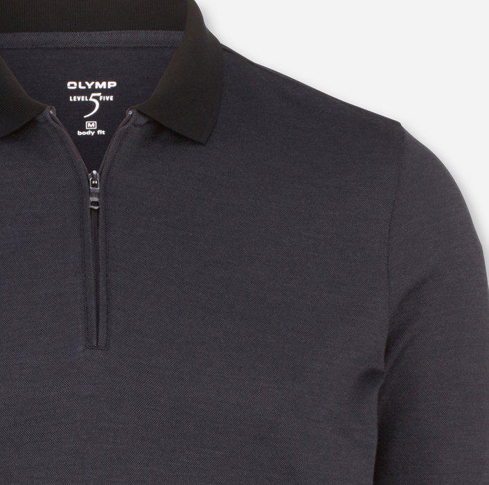 OLYMP Level Five Casual Polo, body fit, Anthracite