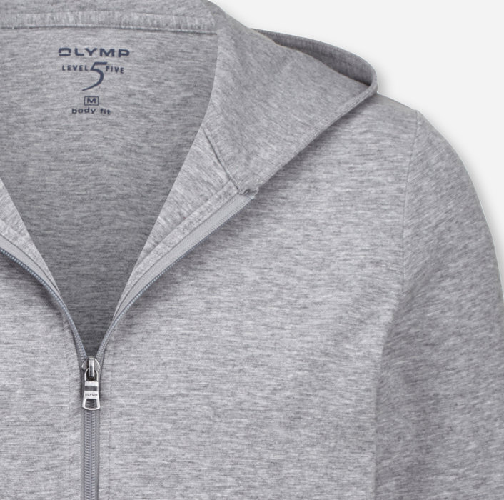 OLYMP Level Five Sweat, body fit, Sweat jacket, Silver Grey