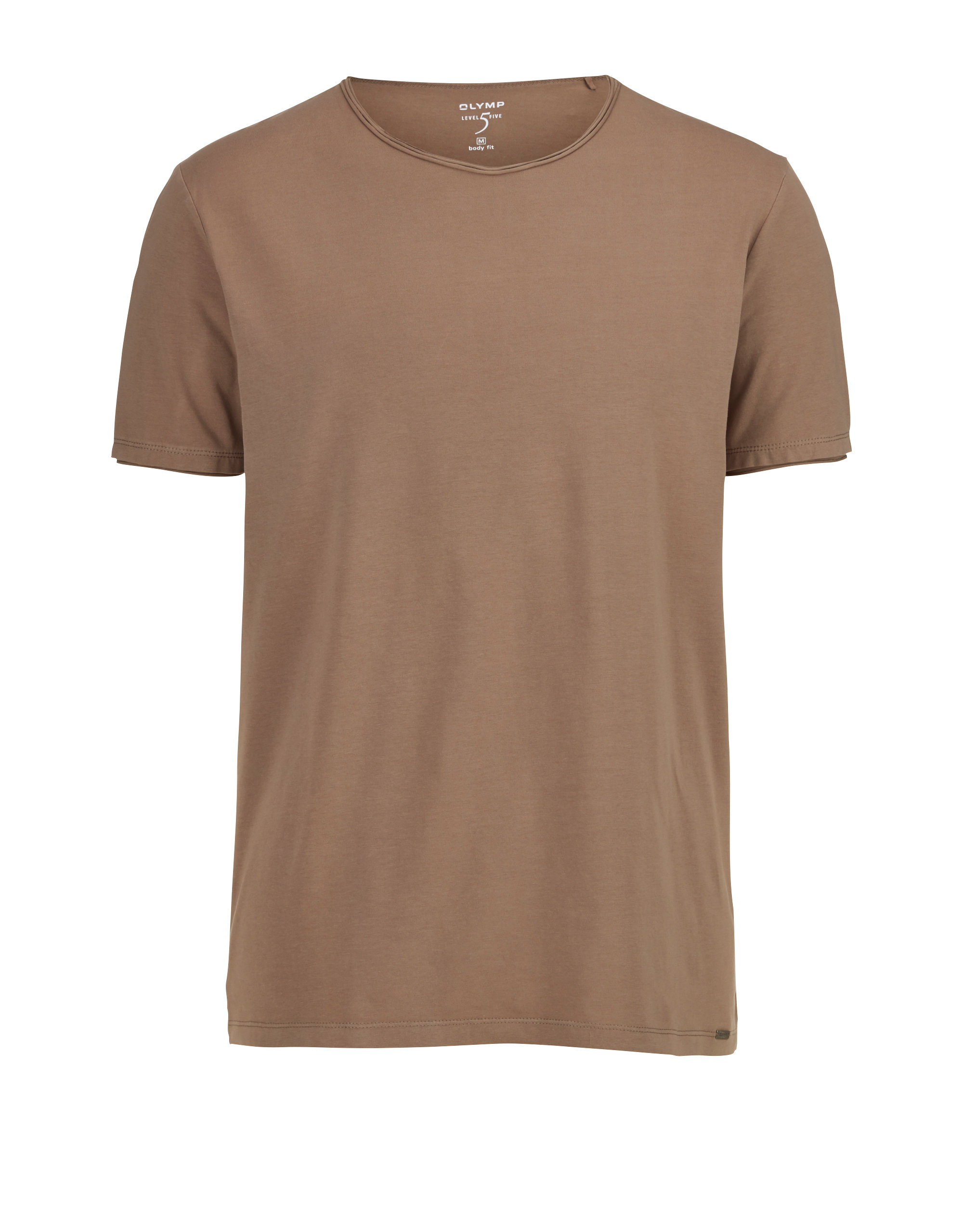 OLYMP Level Five Casual T Shirt, body fit, Schlamm