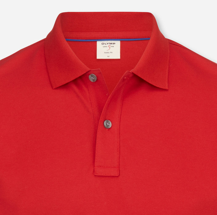 OLYMP Level Five Casual Polo, body fit, Red