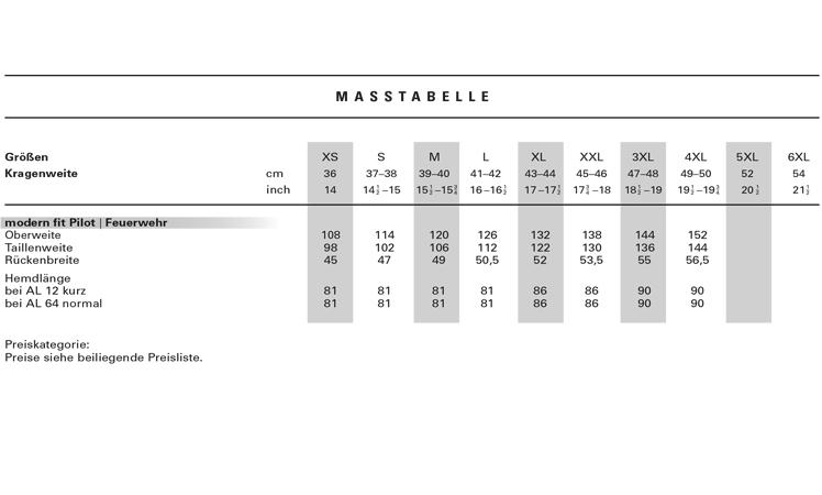ma tabelle f r olymp hemden finden sie ihre ideale passform. Black Bedroom Furniture Sets. Home Design Ideas