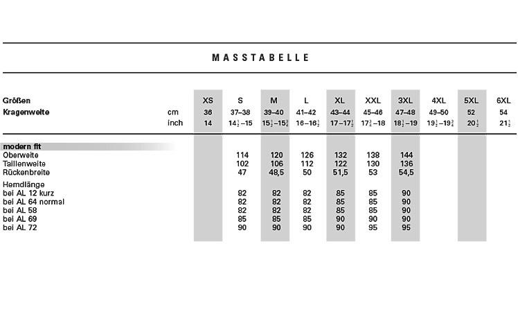 cheaper 90576 3e1d5 Maßtabelle für OLYMP Hemden - finden Sie Ihre ideale Passform
