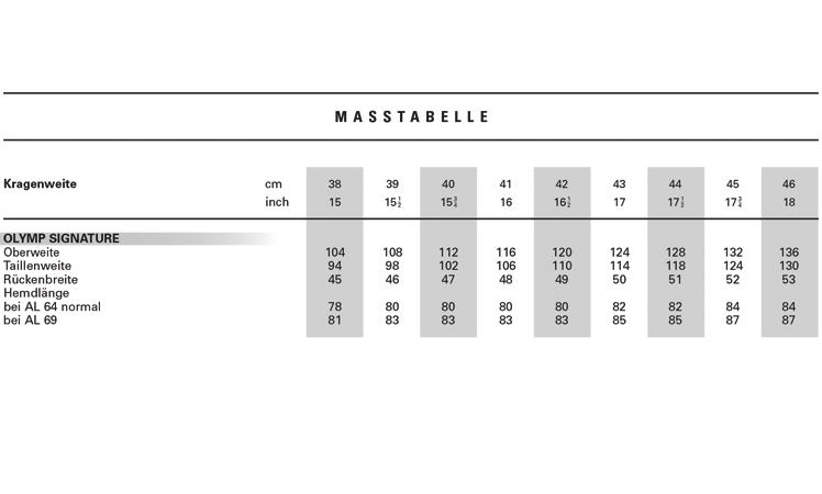 new list lower price with details for Maßtabelle für OLYMP Hemden - finden Sie Ihre ideale Passform